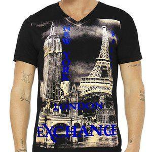 EXCHANGE MEN'S NEW YORK PARIS BLACK V-NECK T-SHIRT